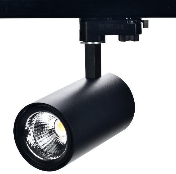F1 series 30W LED track light, Tridonic LED driver, flicker free, Citizen COB LEDs, 120lm/W CRI80 4000K, UGR<19 15,24,36. 60degree 4 beam angle, 5 years warranty