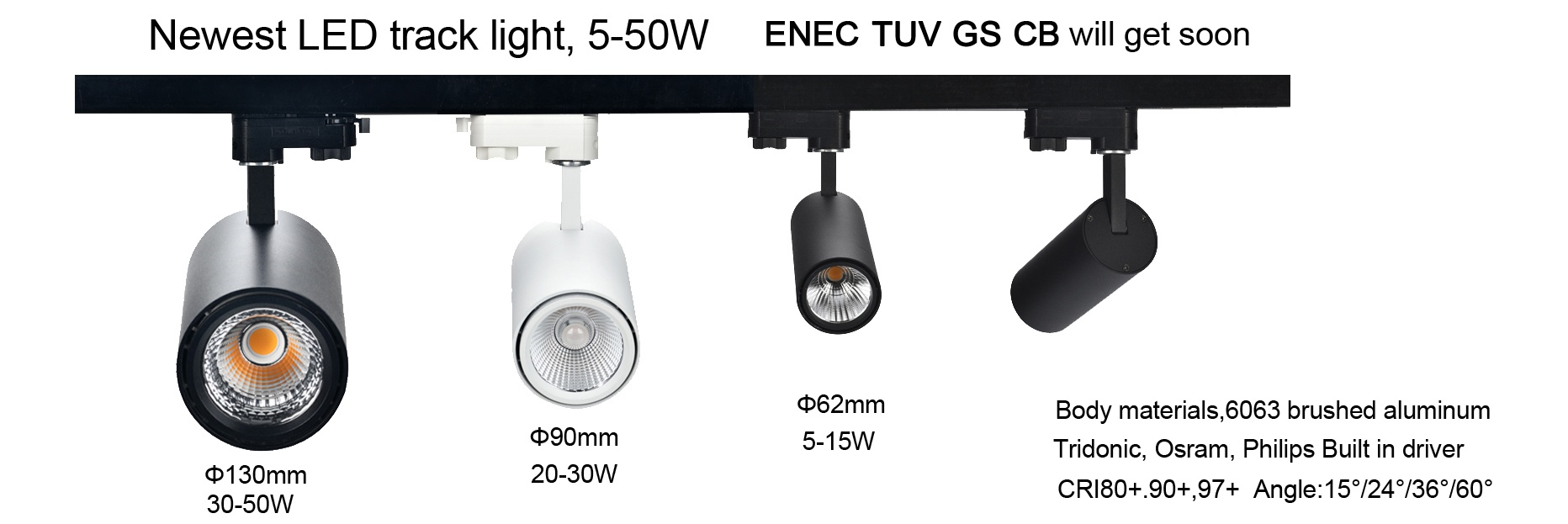 ENEC, TUV GS, CB LED track light, 10-50W,