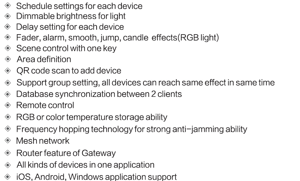 Zigbee smart system features