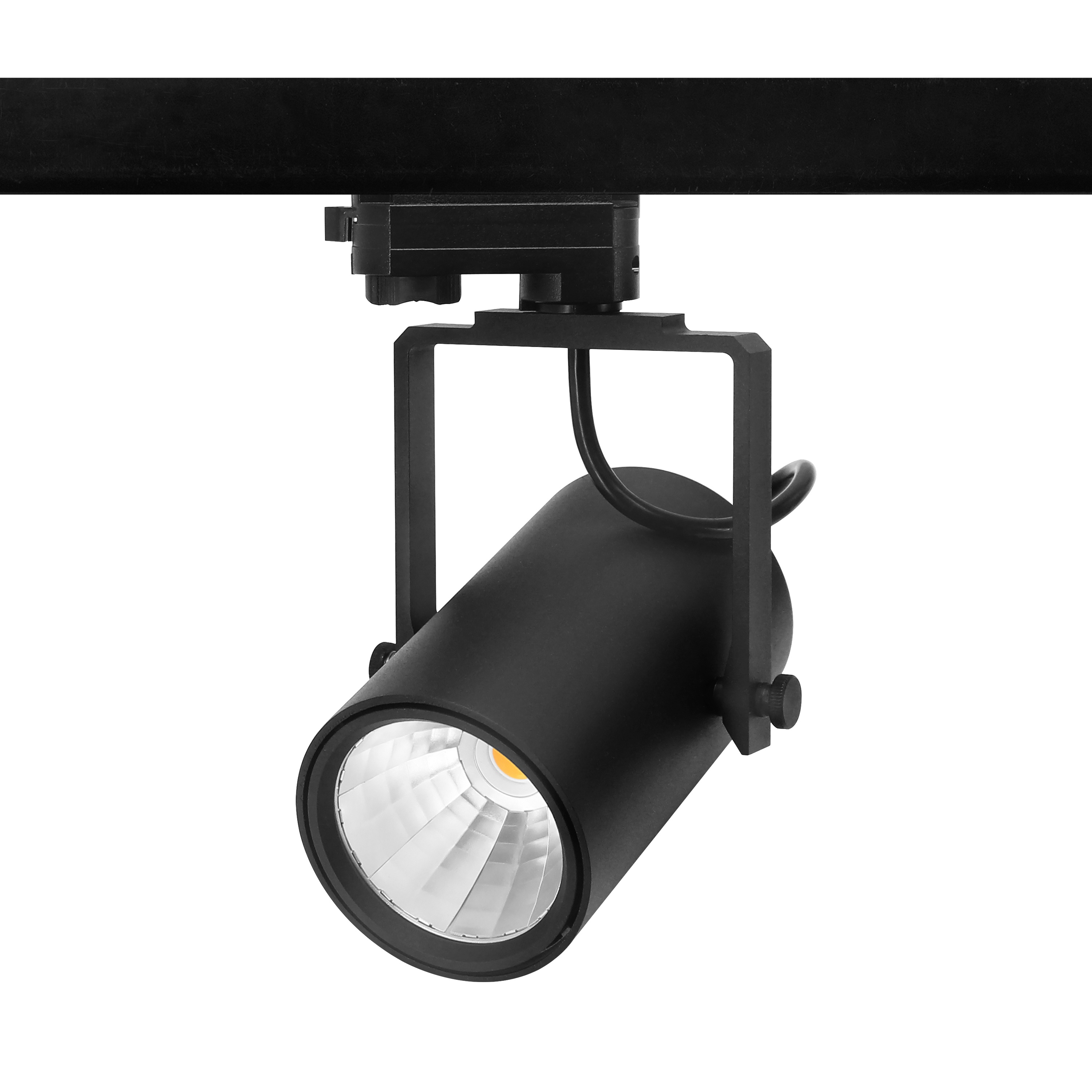 F1 series 30W LED track light, Tridonic LED driver, flicker free, Citizen COB LEDs, 120lm/W CRI80 4000K, UGR<19 15,24,36. 60degree 4 beam angle, 5 years warranty