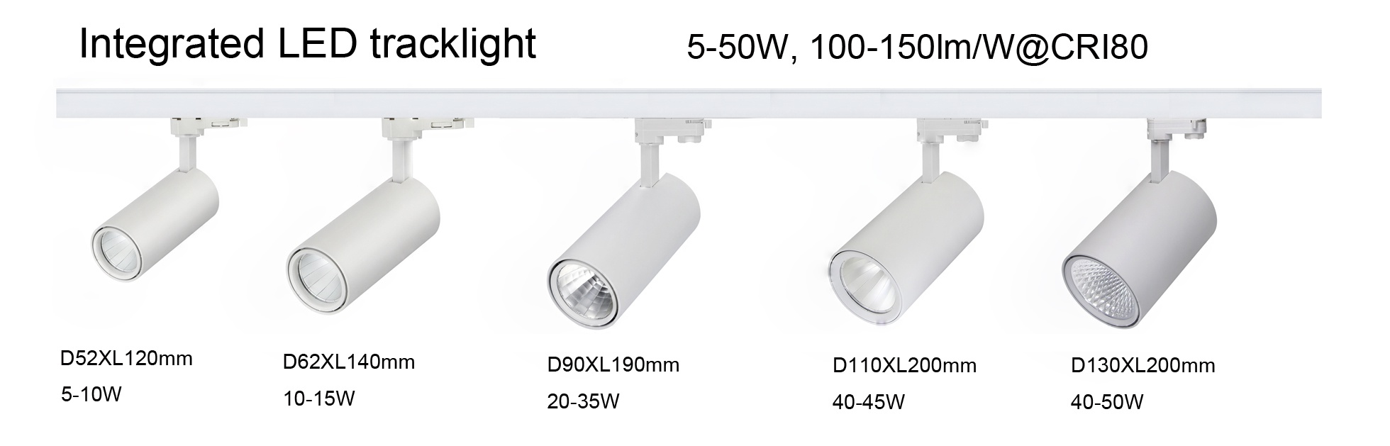 integrated LED tracklight 5-50W, 1/3 phase track adapter, 100-150lm/W@CRI80