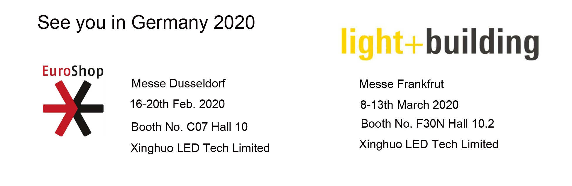 see you in Germany,  Euroshop 2020 Messe Dusseldorf Light+Building 2020 Messe Frankfrut