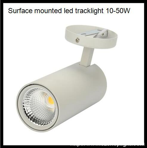 surface mounted led track light, built in driver, dimmmable and non dimmable, 10-50W, 15/24/38/60degree beam angle,100-130lm/W output